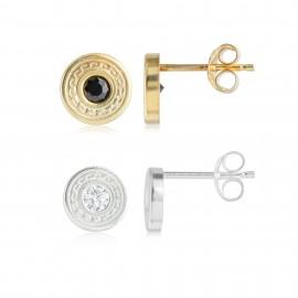 Duo Greca Oro & Silver Zirconium Onix