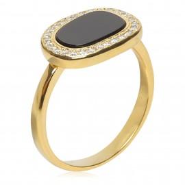 Oval Onix Zirconium Oro