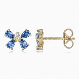 Flor Swarovski Azul Oro