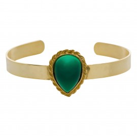 Brazalete Luxury Lágrima Esmeralda Gold
