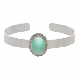 Brazalete Luxury Oval Jade Silver