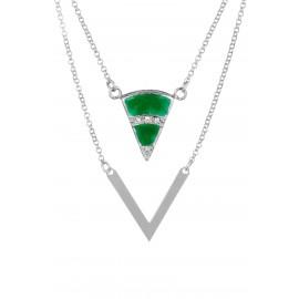 Triangle Zirconium Esmeralda Silver