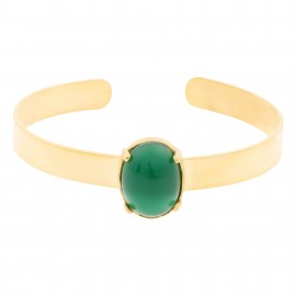 Brazalete Luxury Oval Esmeralda Gold