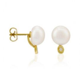 Tú y Yo oro Oval Zirconium Perla cultivada