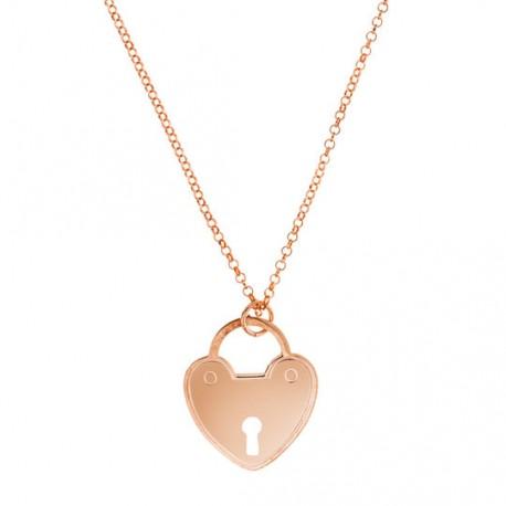 Corazón Candado Oro Rosa