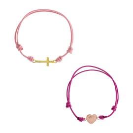 Cruz algodón rosa / Corazón algodón frambuesa