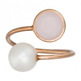 Tú y Yo Rosa de Francia perla de cultivo natural Oro Rosa