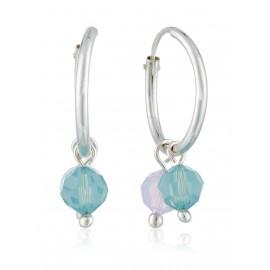 Arete Swarovski azul y lila