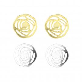 Set Pendientes Rosetas Oro