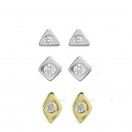 Set Pendientes Trio Zirconium